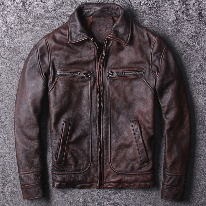 2018 Men Retro Vintage Brown Genuine Leather Jacket Plus Size XXXL Real Thick Cowhide Winter Casual Leather Coat FREE SHIPPING