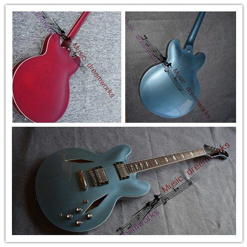 China's guitar OEM firehawk Dave Grohl DG335 Metallic Blue Electric Guitar wholesale,sales promotion, color can be customized