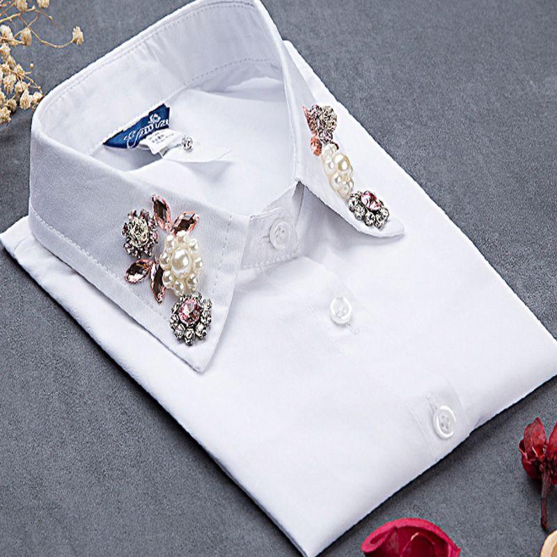 2017 mignon style mode Choker cou revers perlé dames blouse collier femme solide coton faux col