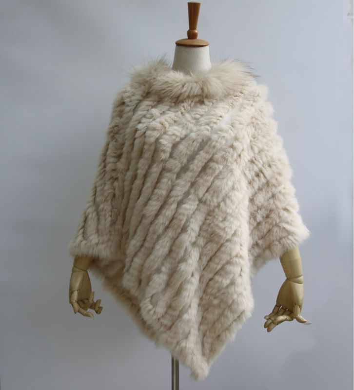 New Women Fashion Pullover Knitted Genuine Rabbit Fur Raccoon Fur Poncho Cape Real Fur Knit Amic Wraps Triangle Shawls Coat