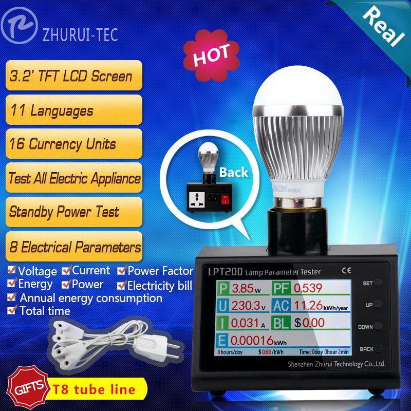 LPT200 AC power plug wattmètre, d'énergie moniteur numérique compteur d'électricité, kwh mètre analyseur de puissance 11 langues 16 monnaies
