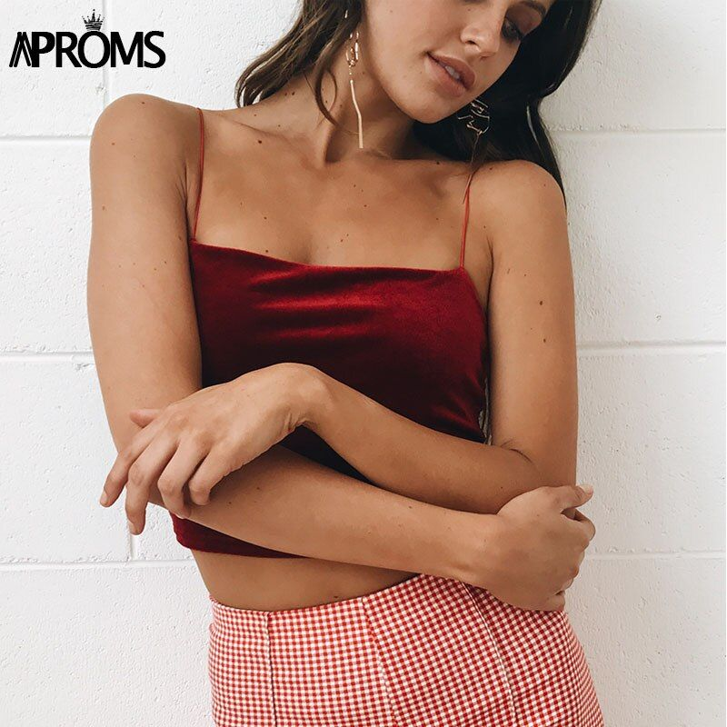 Aproms 90s Basic Velvet Cropped Camis Fashion Women Streetwear Sexy Elastic Straps Crop Tank Top Short Bustier T-shirts Tees