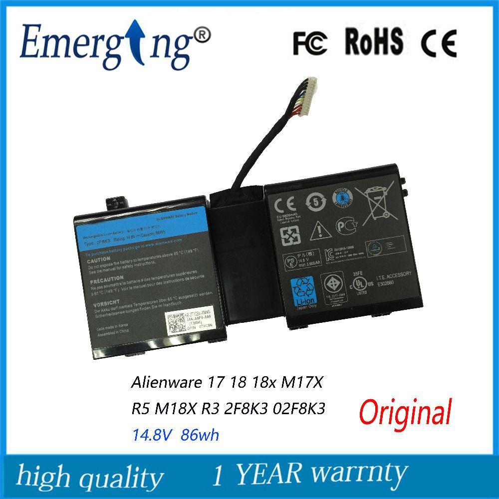 14.8 v 86wh nouvelle batterie d'ordinateur portable d'origine pour dell alienware 17 18 18x m17x r5 m18x r3 2f8k3 02f8k3