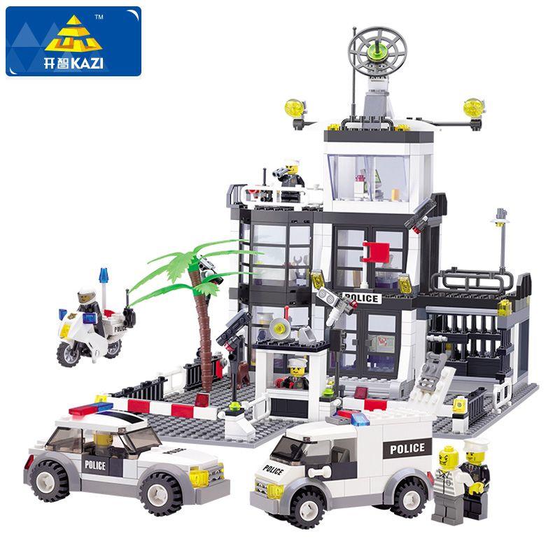 KAZI Police Station Building Blocks Compatible Legoe City Building Blocks 3D Model Bricks Brinquedos Toys For Children Gifts