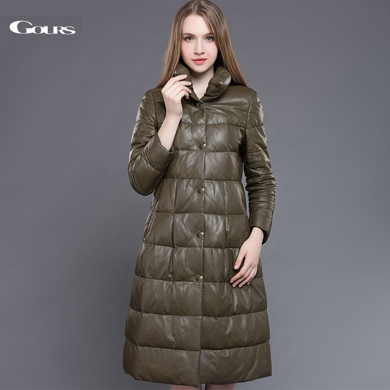 Gours Genuine Leather Duck Down Coat for Women Green Sheepskin Very Long Overcoats Winter Warm Parka New Arrival Plus Size 5XL