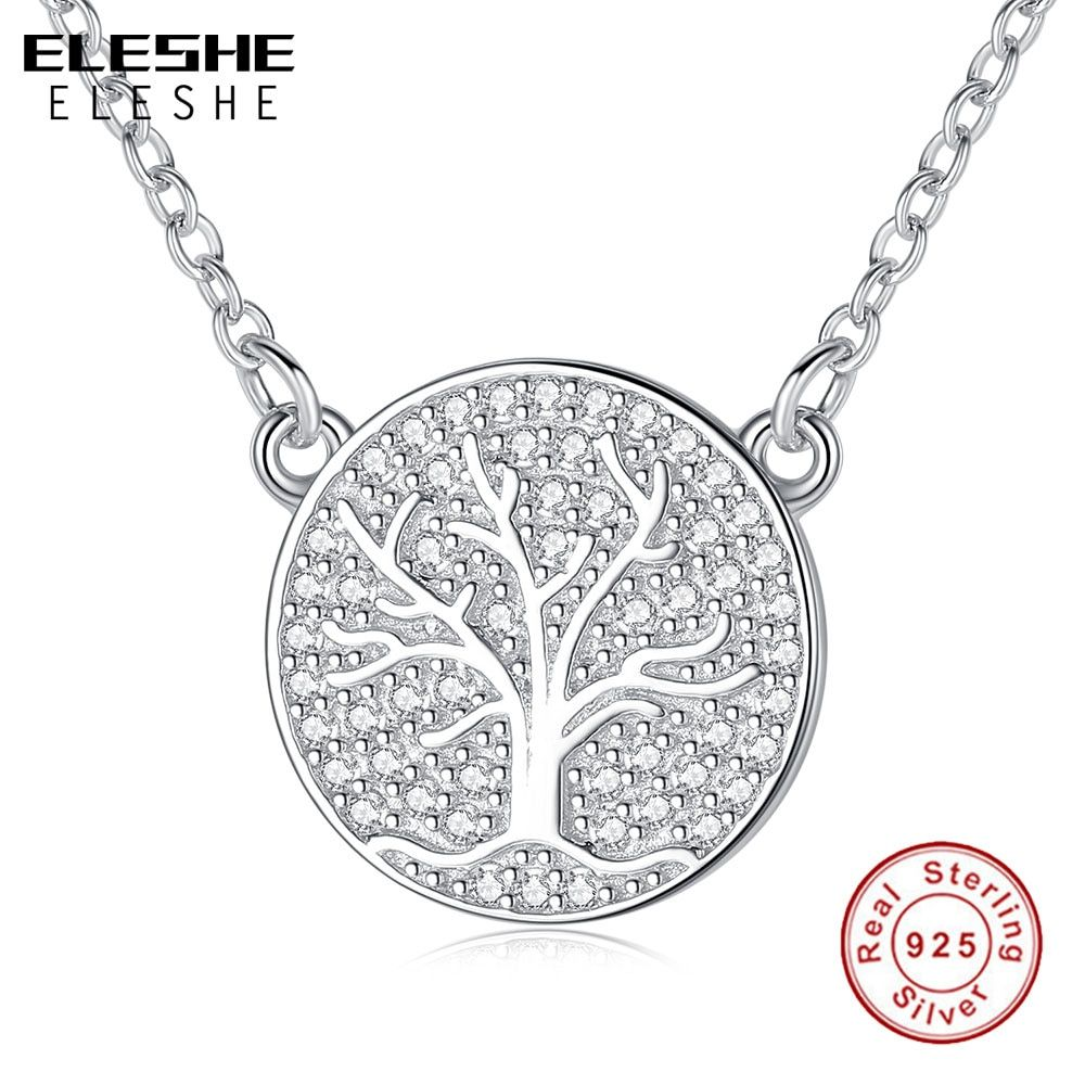 ELESHE Fashion Cubic Zirconia Family Tree of Life Round Pendants Necklaces 925 Sterling Silver Necklace Women Men Jewelry Gift