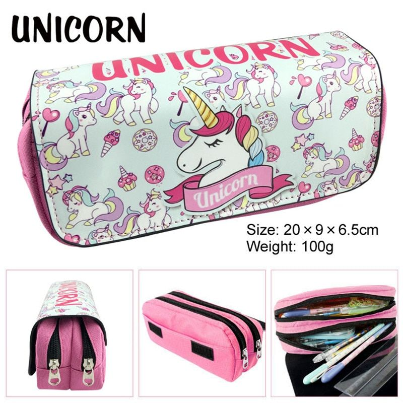 Cute Kawaii Unicorn School Pencil Case PU Leather 3 D Printing Penal Pencilcase Large Pen Bag For Kid Boy Girl Storage Box Pouch