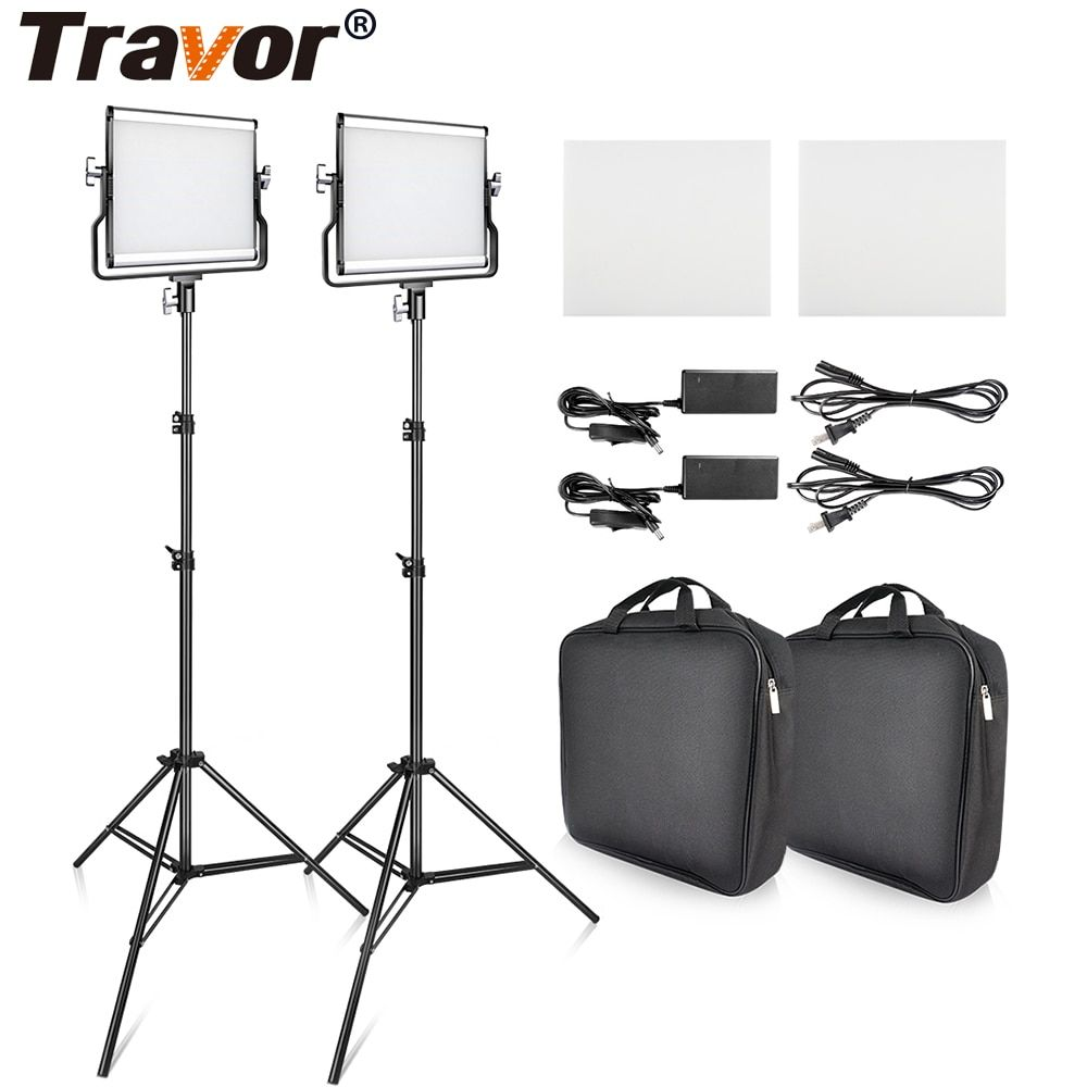 Travor L4500 2Set LED Video Photography Light &Tripod Dimmable 3200K/5600K Camera Light For Studio Photography Video Shooting