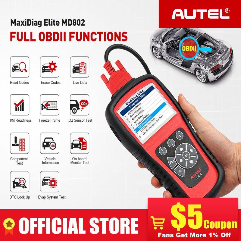 AUTEL MaxiDiag Elite MD802 Pro Alle System OBD2 Scanner OBD 2 Automotive Auto Diagnose Werkzeug OBDII Scan-Tool Code Reader PK MD805