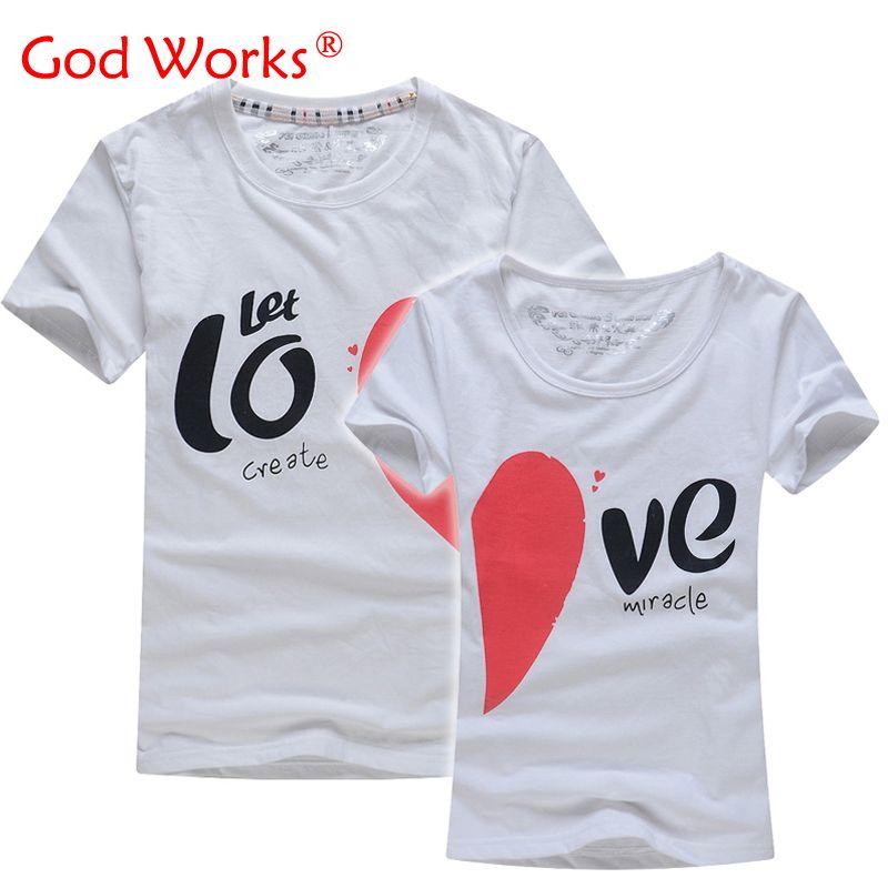 Amoureux t-shirt pour Couples et amoureux vêtements amoureux t-shirt d'été chemise hommes et femmes coeur amour T-shirts forme chemise vêtements