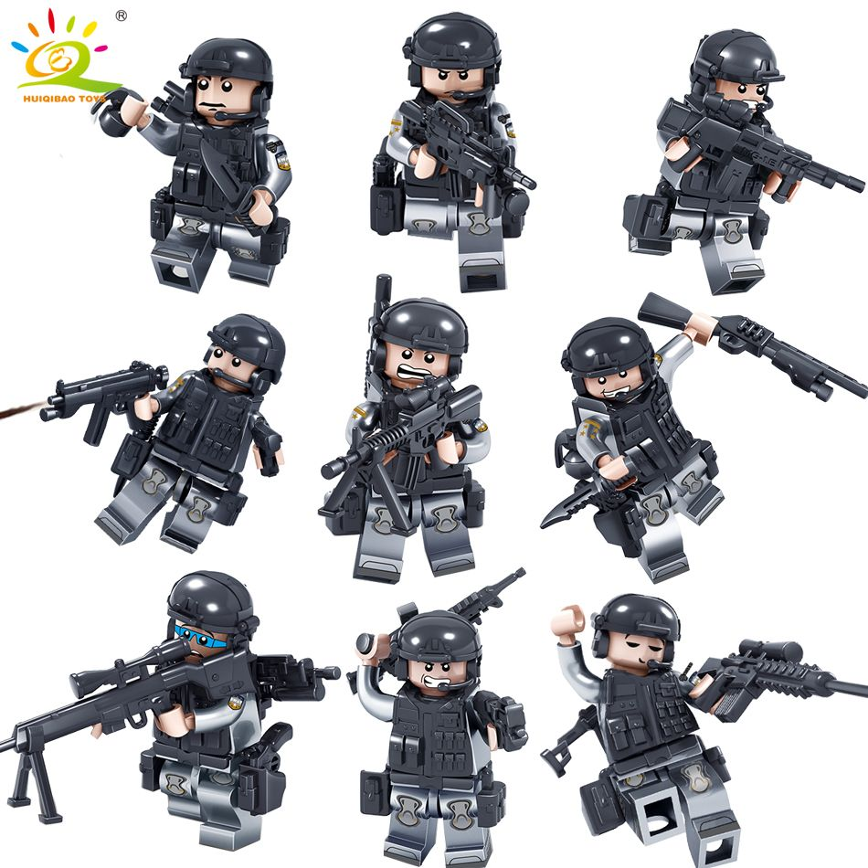 Military Swat Soldier with Weapons Building Blocks compatible legoed Army <font><b>city</b></font> guns bricks enlighten Toys for Children Friends