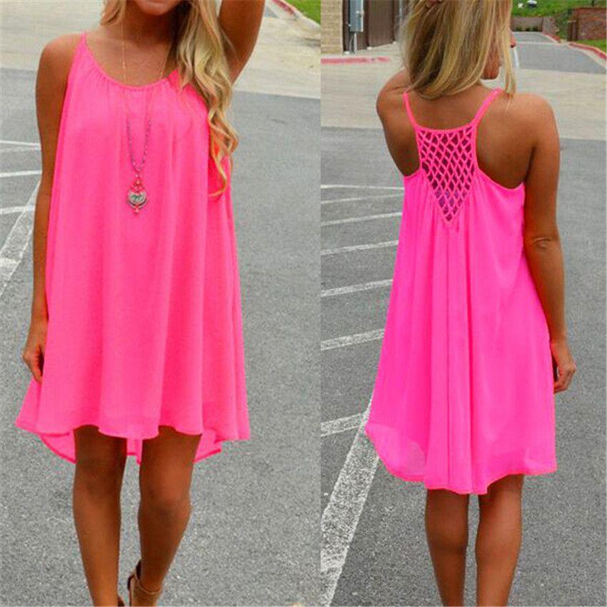 14 couleur Femmes robe de plage fluorescence femelle robe d'été en mousseline de soie voile Condole ceinture robes sexy Femmes Vêtements grande taille