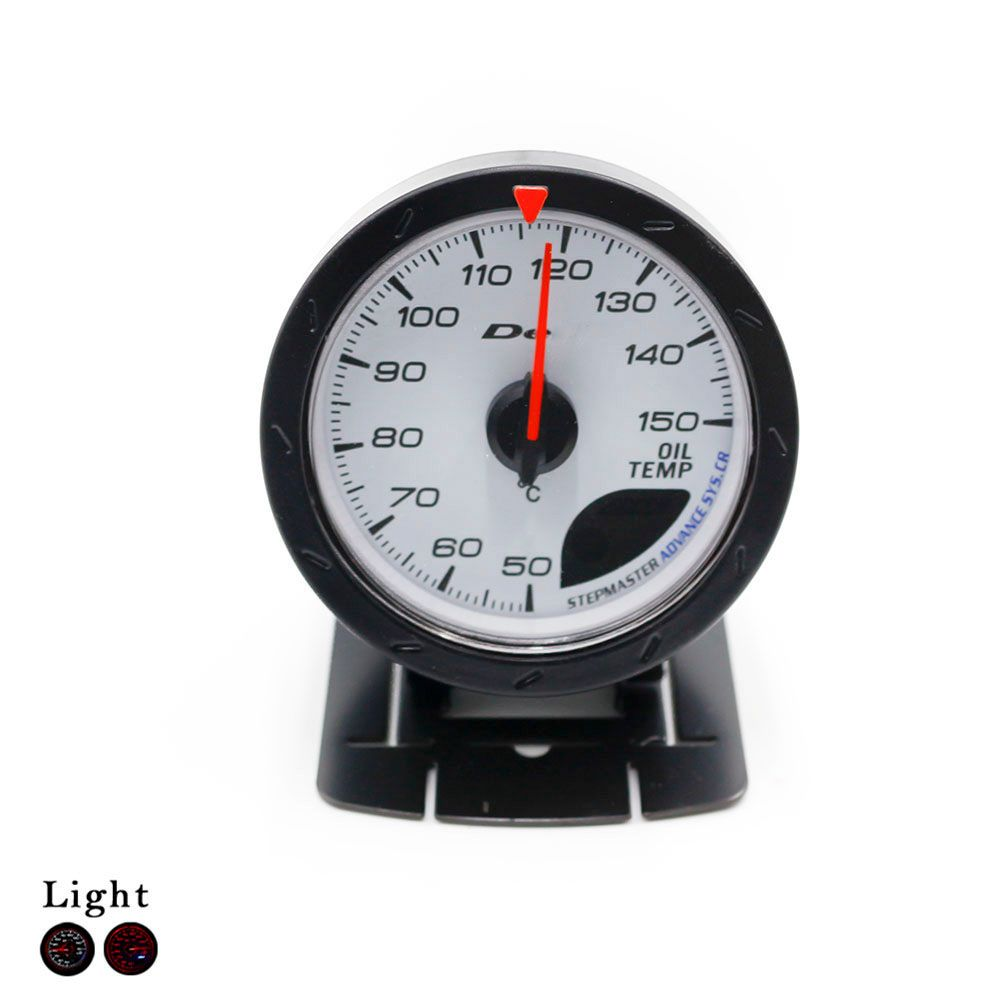 Free Shipping Universal 60mm Oil Temp Gauge Black Shell White Face Oil Temperature Gauge Car Styling Car Meter Auto Gauge Meter