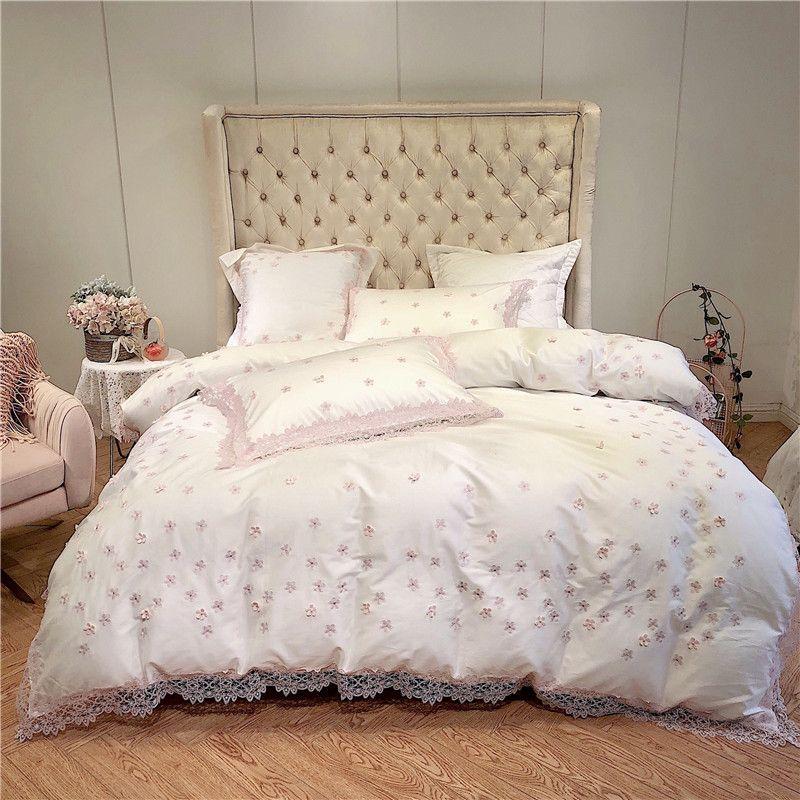 Rosa Spitze Rand Floral bettbezug-set Prinzessin stil Bettwäsche für Mädchen Ultral Weichen Tencel seide König Königin größe Bett blatt set