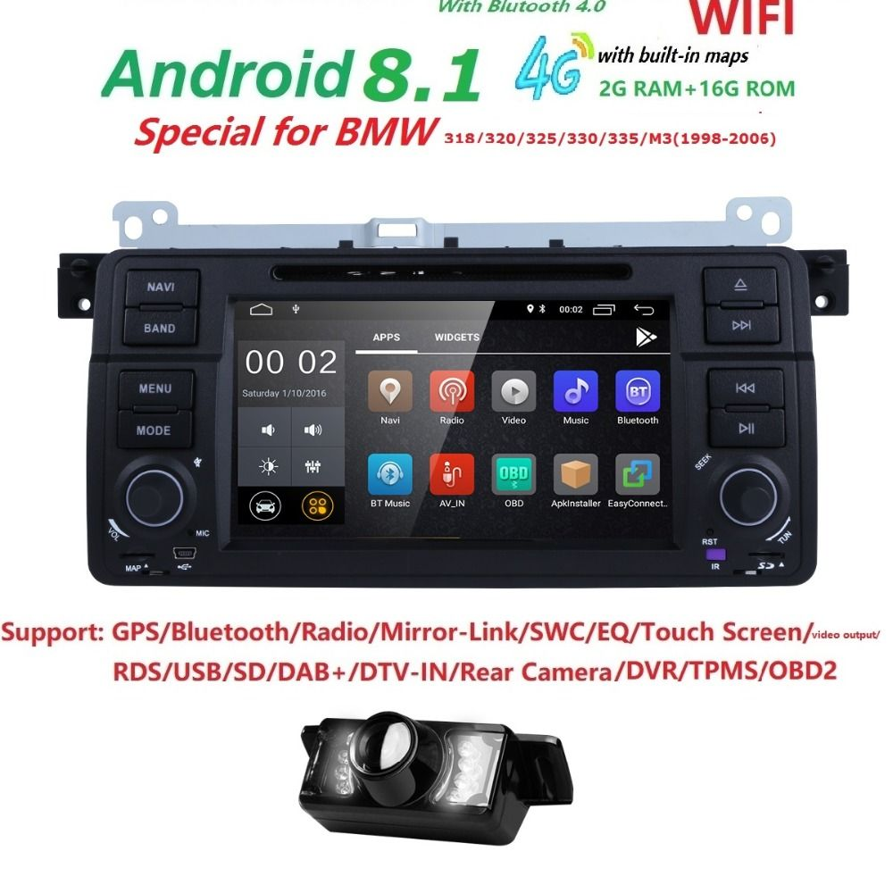 4GWIFI Android8.1 Car DVD Player for BMW E46 Range Rover Bluetooth Retrofit Kits with Quad Core Cortex A9 Radio Tape Recorder BT