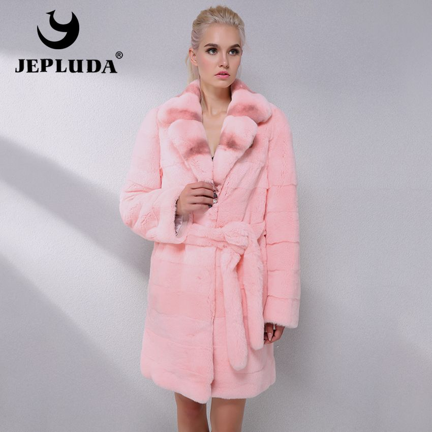 JEPLUDA Latest Fashion Color Rex Rabbit Fur Coat Warm Soft Natural Real Fur Coat Women Clothes Winter Fur Jacket Women Tops Coat
