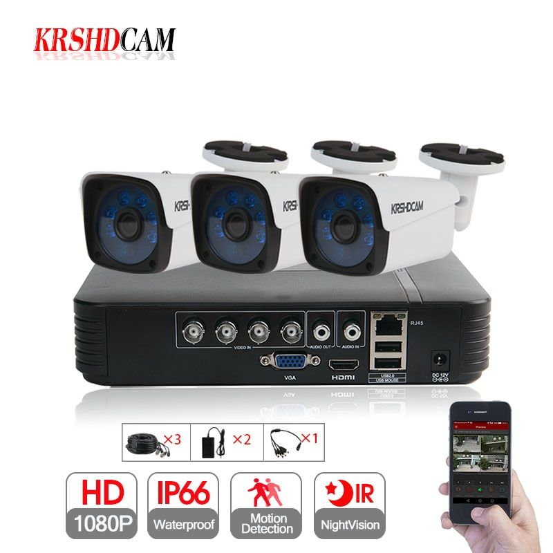 KRSHDCAM 4CH CCTV System 1080P AHD 1080N CCTV DVR 3PCS 3000TVL IR Waterproof Outdoor Security Camera Home Video Surveillance kit