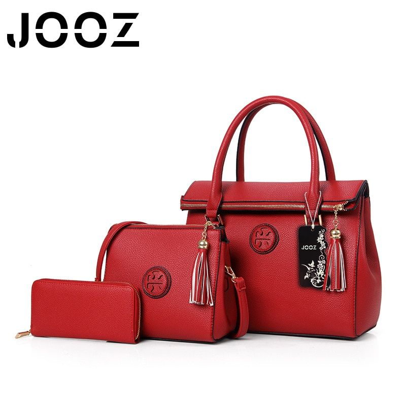 JOOZ Brande N Tassel Handbag 3 Pcs Composite Bags Set Top Brand BLuxury Lady Shoulder Crossbody Women Bag Female Wallet Clutch