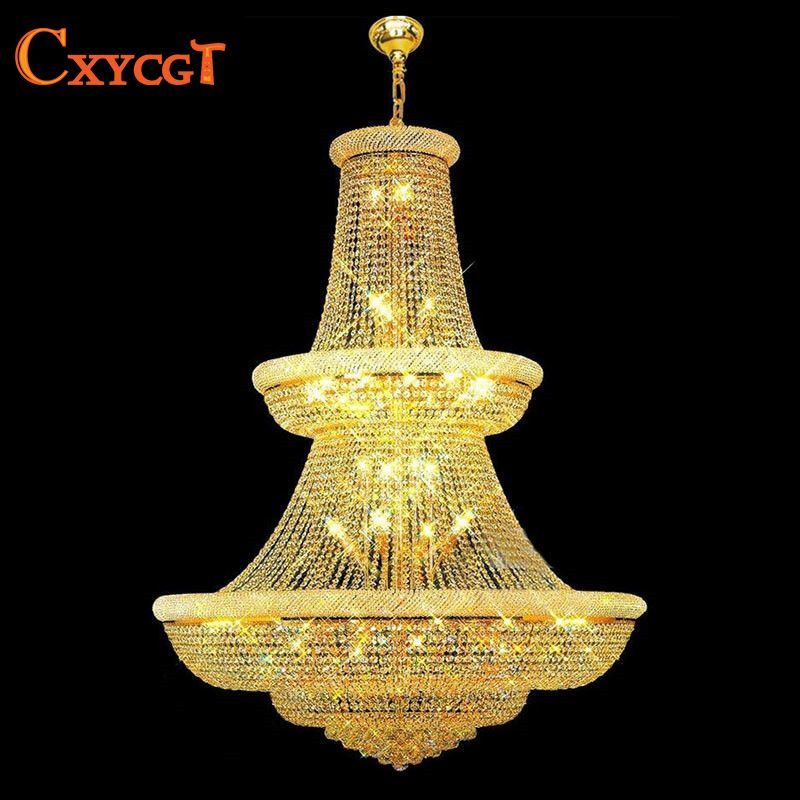 120cm Luxury Big Europe Large Gold Luster Crystal Chandelier Light Fixture Classic Light Fitment for Hotel Lounge Decoratiion