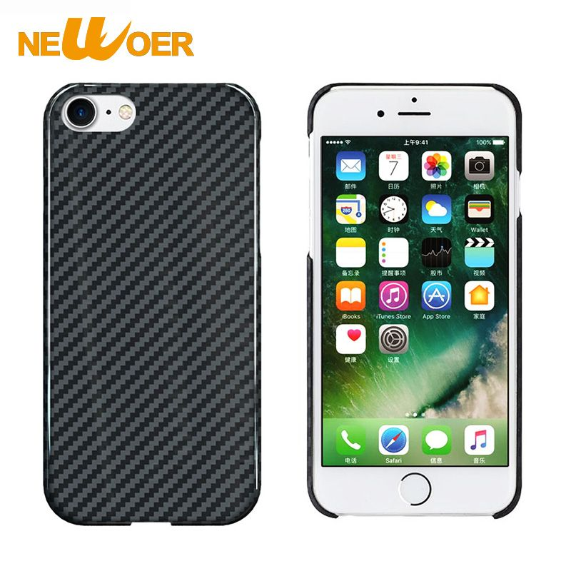 Phone Cases For iPhone 8 Real 100% Carbon Fiber 4.7 inch Full Protection Antiknock Shell Phone Cover NEWOER