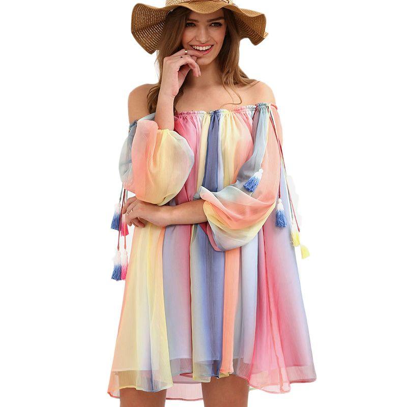 Летние Boho многоцветный с плеча кисточкой шифон халат сексуальное платье с длинным рукавом Свободные Для женщин Мини dresese Vestidos Элегантный 2017