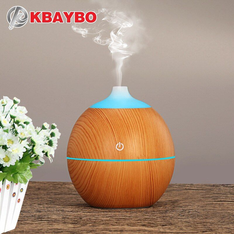 KBAYBO 130ml Aroma essential oil diffuser USB ultrasonic wood Air Humidifier with Wood Grain 7Color <font><b>Changing</b></font> LED Lights for home