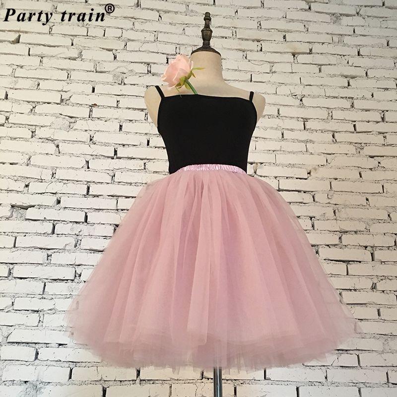 Skirts Womens 7 Layers Midi Tulle Skirt Fashion Tutu Skirts Women Ball Gown Party Petticoat 2018 Lolita Faldas Saia
