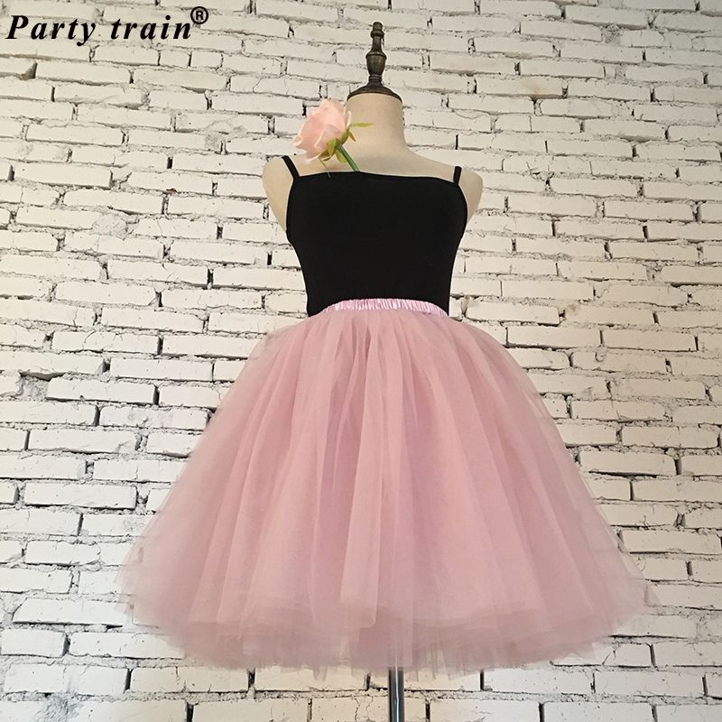 Skirts Womens 7 <font><b>Layers</b></font> Midi Tulle Skirt Fashion Tutu Skirts Women Ball Gown Party Petticoat 2018 Lolita Faldas Saia