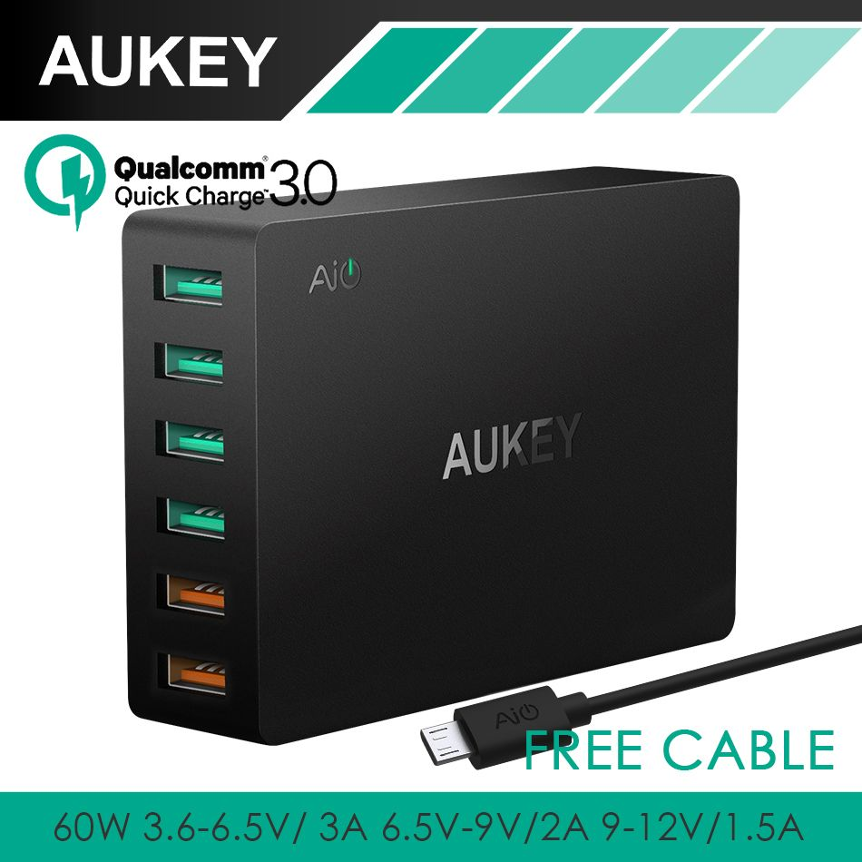 AUKEY Quick Charge 3.0 6-Port USB Travel Quick Charger Universal Fast Charger for Samsung Galaxy S8 LG Xiaomi iPhone More Phones