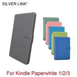 Plata enlace Kindle caso suave piel cubierta de silicona para Kindle Paperwhite 1/2/3 E-Book sueño Auto/ activación disipar Shell