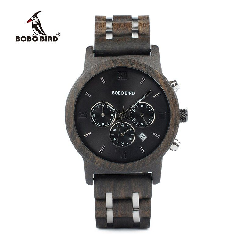 BOBO BIRD P19 Vogue Wooden Mens Quartz Watches Date Display Business Watch Ebony & Zebrawood <font><b>Options</b></font> Valentines Gift