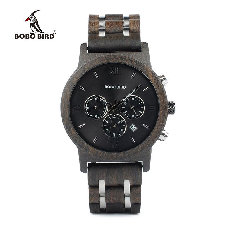 BOBO BIRD P19 Wooden Mens Quartz Watches Date Display Business Watch Ebony & Zebrawood <font><b>Options</b></font> Valentines Gift
