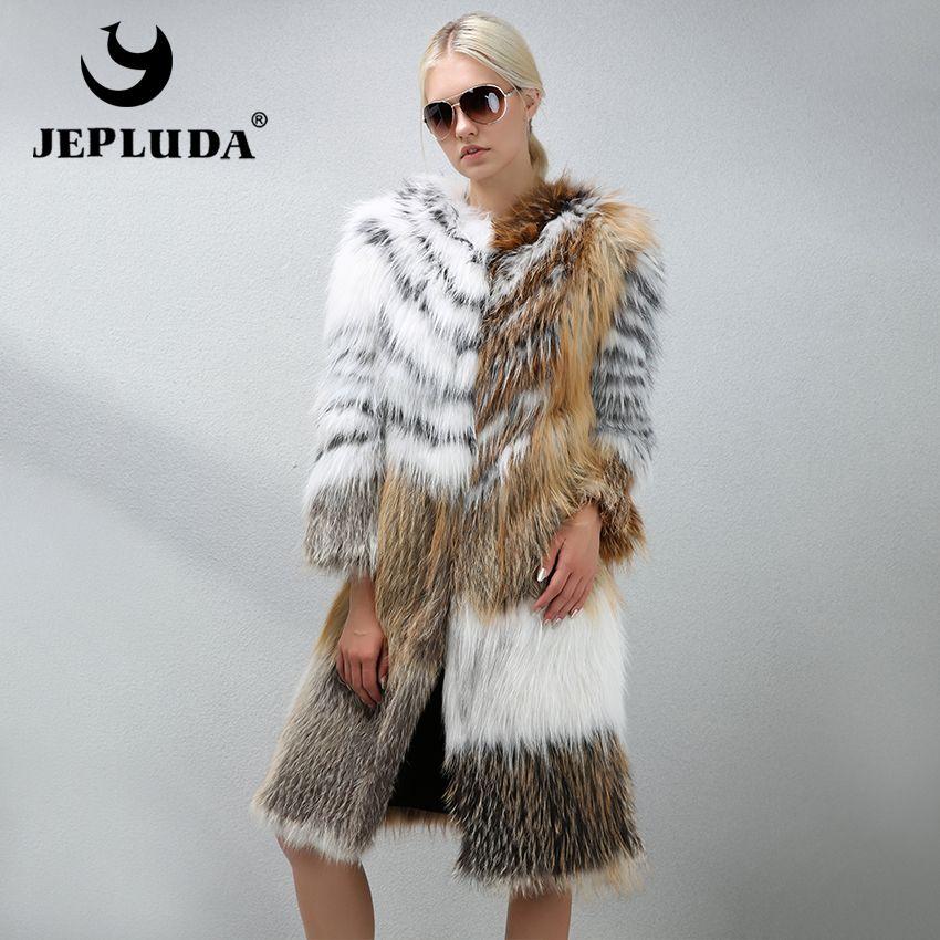 JEPLUDA Luxurious Women Natural Golden Color Real Fox Fur Coat O-Neck Collar Soft Warm Long Real Fur Coat Grace Women Fur Jacket