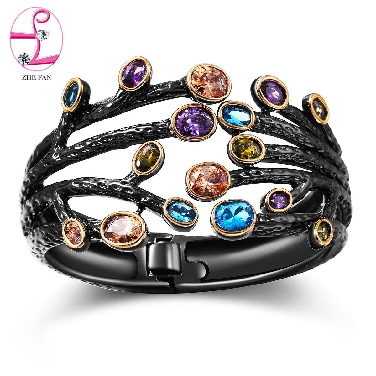 ZHE FAN Femmes Grand Cru Brassard Ouvert Bracelet Bracelet AAA Cubique Zircone Noir Or Couleur Plaqué Branches Large Bijoux Cadeau