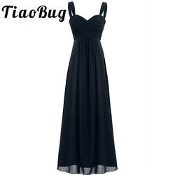 2017 TiaoBug 4 Colors Formal Ankle-Length Bridesmaid Dress Sleeveless Wedding Party Sexy V-Neck White Black Navy Blue Dress