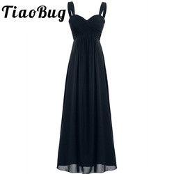 2020 TiaoBug 4 Colors Formal Ankle-Length Bridesmaid Dress Sleeveless Wedding Party Sexy V-Neck White Black Navy Blue Dress