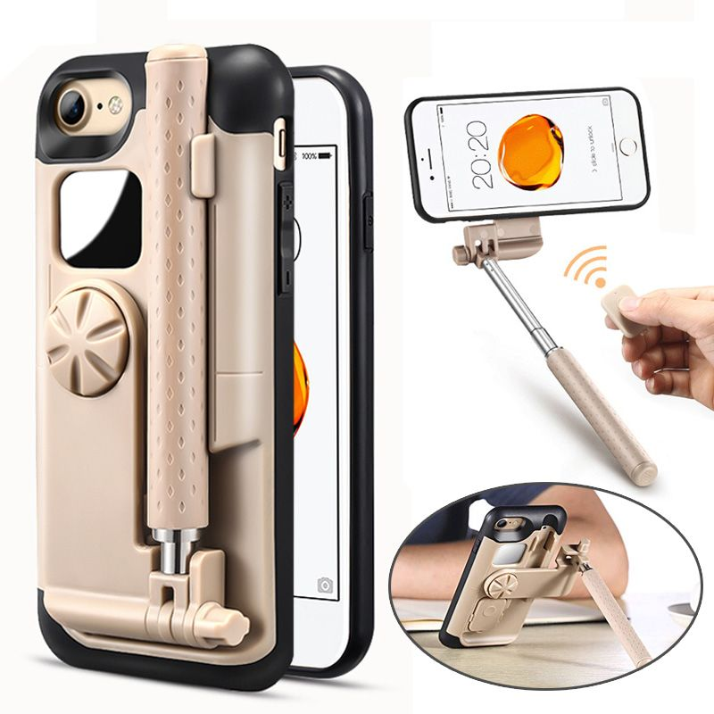LANCASE Selfie Stick Phone Cases For iPhone 7 Case Portable Foldable Cover For iPhone 8 Plus Case 7 Stretch Handheld Bluetooth