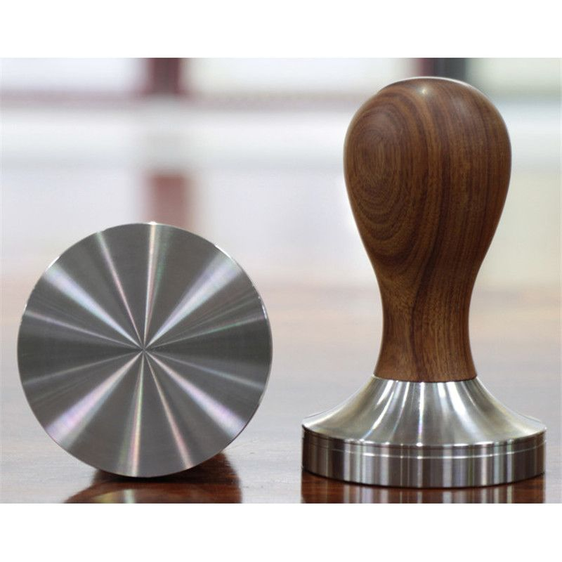 Nouveau acier inoxydable 57.5mm 58mm manche en bois café inviolable café expresso grain de café