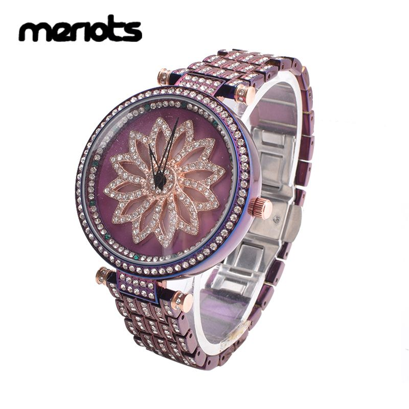 MERLOTS Fashion Purple Lady Ceramic Shining Rotation Dress Watch Top Luxury Women Watches Diamond Wristwatches relogio feminino
