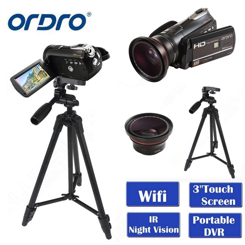 ORDRO HDV-D395 Portable Camcorders Night Vision Full HD 1080P 18X 3.0 Touch Screen Digital Video Camera Recorder DV Wifi
