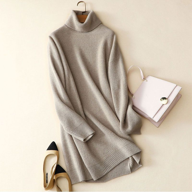 Kashana Women Christmas Dress Newest Long Sleeve Dress 100 Pure Cashmere Dress Shirt High-end Fashion Solid Color Dress Women