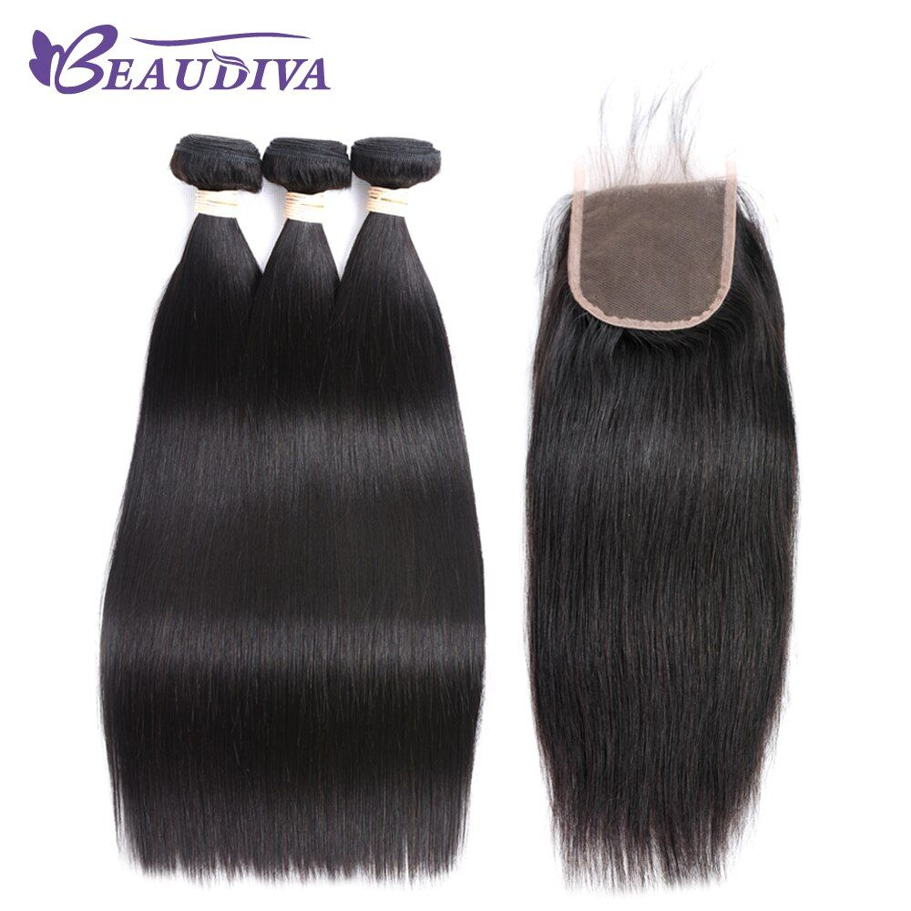 Beaudiva Hair Pre-colored Brazilian Hair Straight Hair 3 Bundles 100% Human Hair Bundle With Closure Nature Color Free Shipping