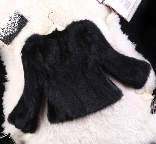 Fur Faux  Jackets Coat For Women Winter Natural Rabbit Fur Faux Fox Short Style Outwear Hairy Coat