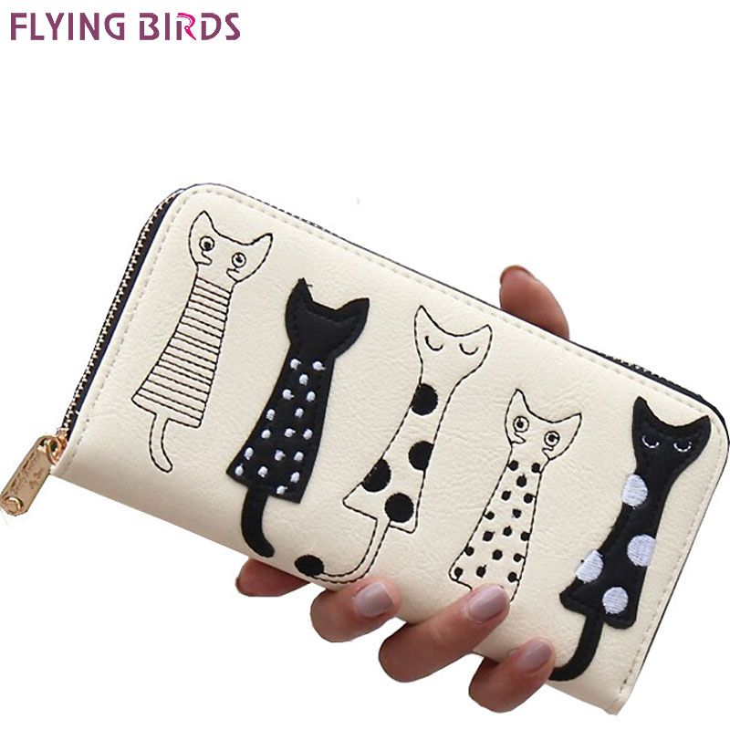 FLYING BIRDS! 2016 women wallets leather wallet long style dollar price Women bag card holder cartoon cat coin purse  LS8723fb