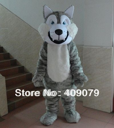 deluxe quality grey furry adult wolf mascot costume