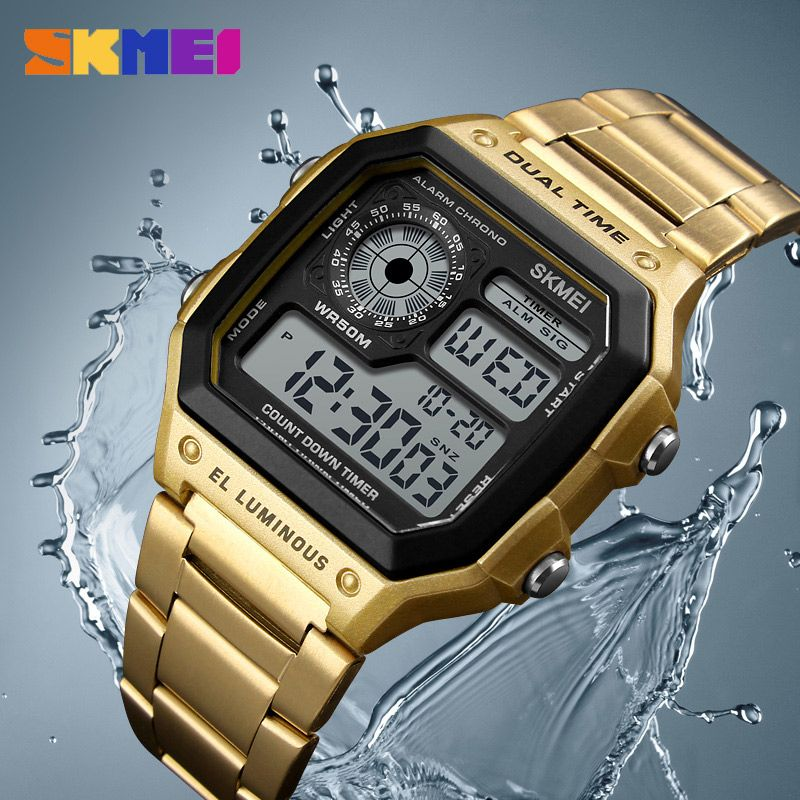 SKMEI Men Sports Watches Count Down Waterproof Watch Stainless Steel Fashion Digital Wristwatches Male Clock <font><b>Relogio</b></font> Masculino