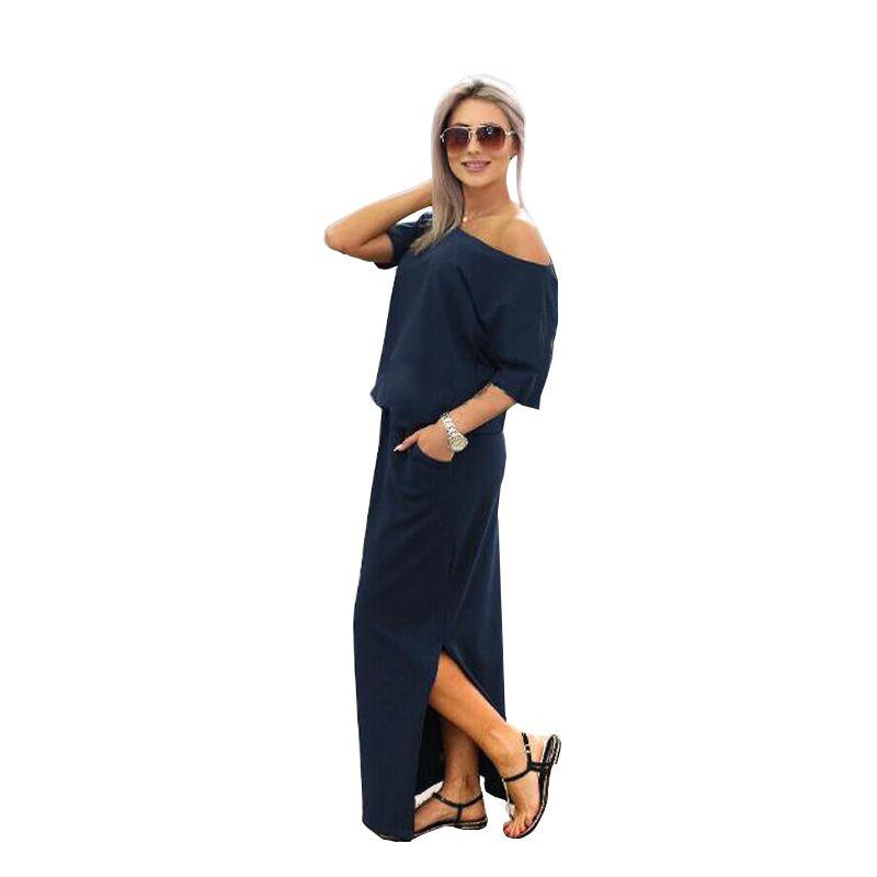 Élégant été longue Maxi robe 2019 décontracté manches courtes couleur unie noir robe lâche chemise robe rose bleu marine Vestidos 11112