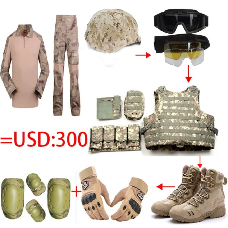 Vollen satz taktische helm/Gläser weste/Camo frosch tops hosen/US Seal Armee Handschuhe/Militär Wüstenkampfstiefel/4 stücke Knieellenbogenschutz