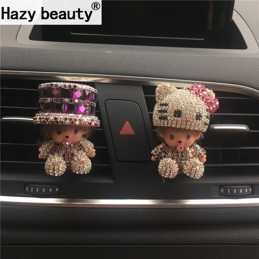 Car perfume seat diamond hat cartoon car perfume seat type crystal ornaments decorated sweet Car-styling  Air Freshener