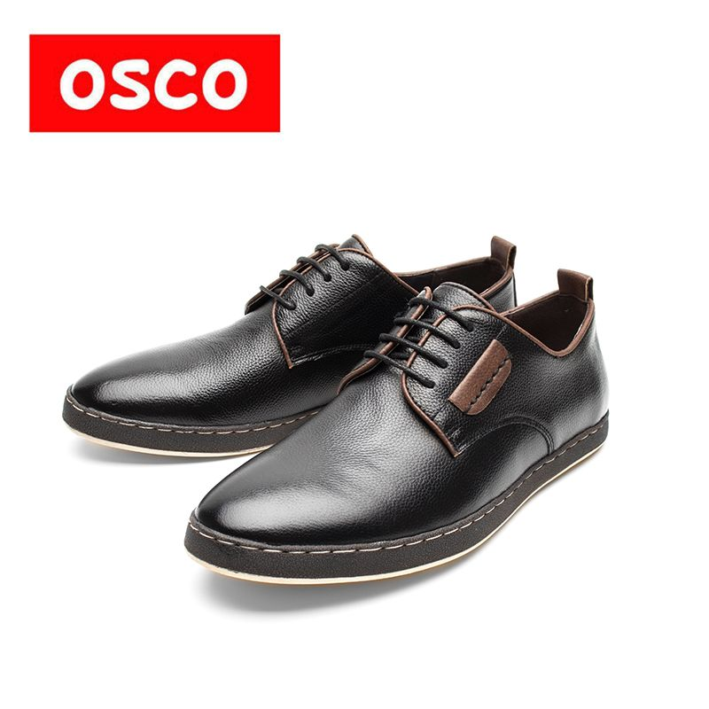 OSCO Factory direct ALL SEASON New Cow leather Slip on oxfords Men Shoes Fashion Men Casual Color brown men Shoes #RU0008